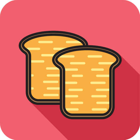 french toast: Slice of bread icon in modern style with shadow and isolated background. Symbol of a bread.