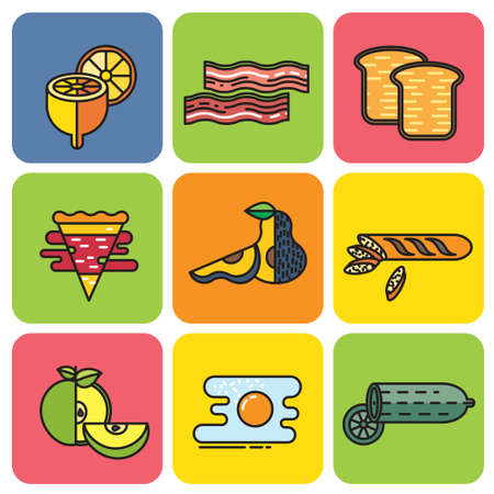mexican food plate: set of colored icons food on square plates Illustration