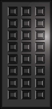 paneled doors of dark color on the isolated background Illustration