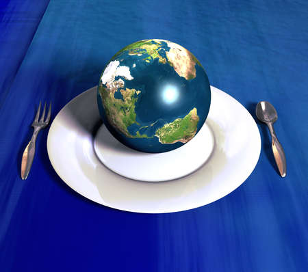 business metaphore: Planet Earth ready for serving!