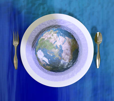 Planet Earth serving in a jelly! Metaphor on our way we treated planet earth.  Stock Photo