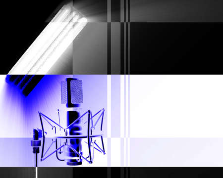 receptive: Illustration of microphone and light pointing to it. Stock Photo