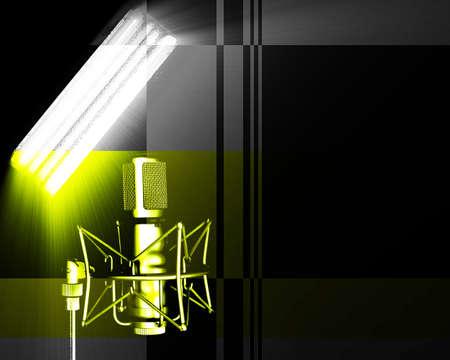 receptivo: Ilustraci�n de la luz y el micr�fono apuntando a la misma.  Foto de archivo