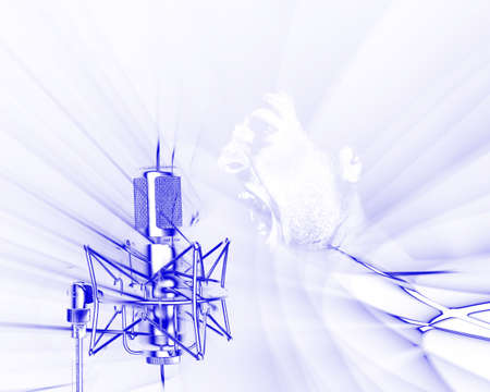 Illustration of microphone receiving sound waves frequencies on white background with yelling man over-compose illustration