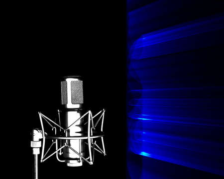 receptive: Illustration of microphone with sound barrier in front of it.