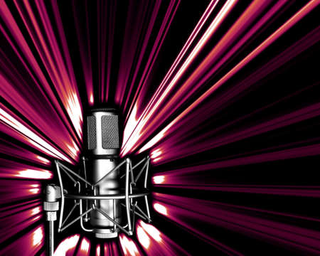 Illustration of microphone in black and white and light explosion