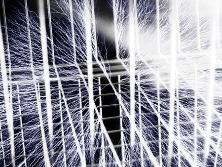 verticals: Illustration of faraday cage with bolts touching the cage