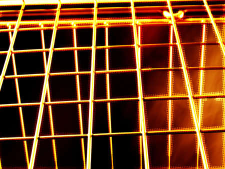 verticals: Wire background with bars, fire and smoke.