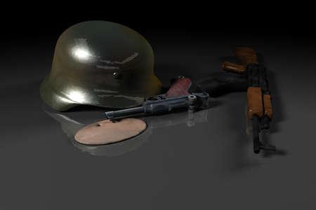 world war ii: German helmet, Luger gun, German soldier plate and Russian AK machine gun as World war II illustration.