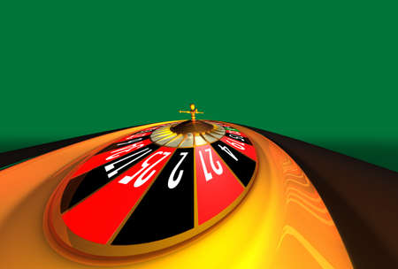 Very, very, very wide shoot of roulette on green background with space for text