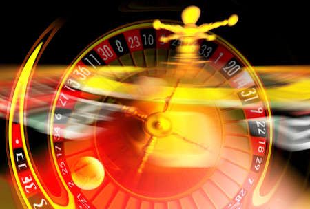 Roulette illustration with wheel in very fast motion.