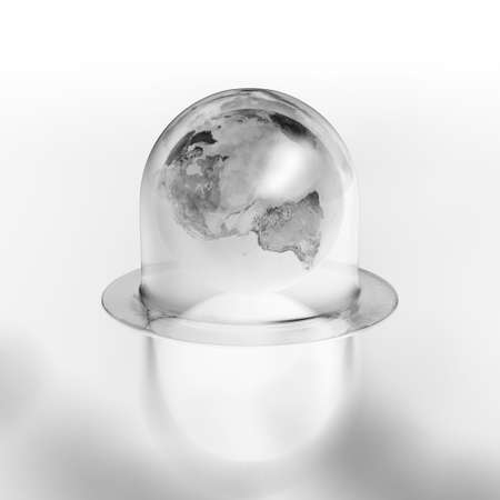 overheated: Highly detail earth under the glass bell overheated.
