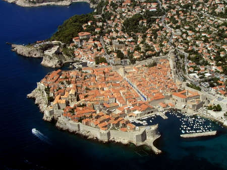 Panorama of Dubrovnik - Croatia - Europe from a plane.        Stock Photo