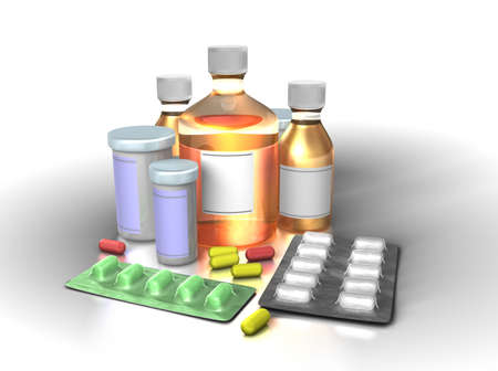 one of a kind: All kind of medicine in one place. Clipping pahts included for various parts. Stock Photo