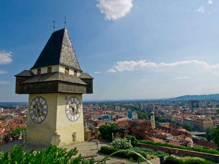 Ville Uhrturm tour de l'horloge, Graz, Autriche