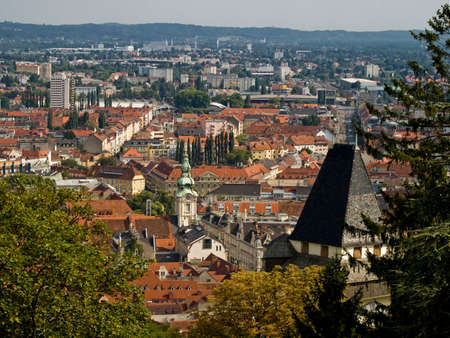 Urban panorama - Graz Stock Photo