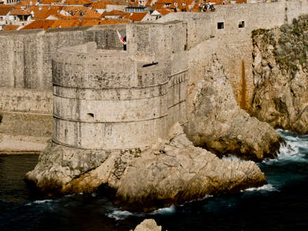 Dubrovnik old town walls detail. Fortress Bokar photo