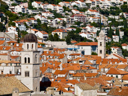 franciscan: Dubrovnik old town church tower of Franciscan monastery. Stock Photo