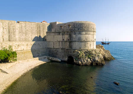 Dubrovnik old town city walls detail. Fortress Bokar. photo