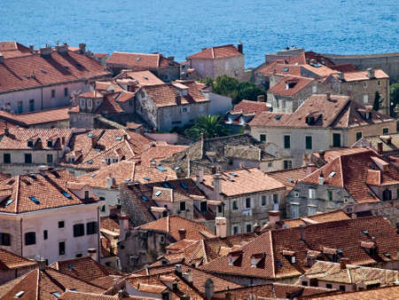 Dubrovnik old town houses and roofs  close up. photo