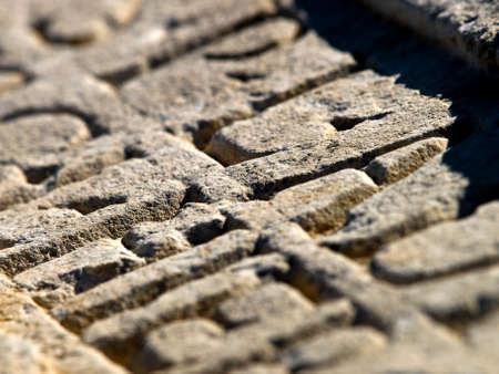 gravure: Romana scavata in pietra con lettere in rilievo Narona, in Croazia. Archivio Fotografico