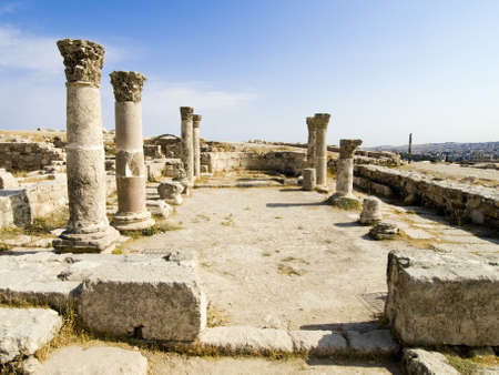 Roman citadel in Amman, Jordan. Temple details. Corinthian order. Stock Photo