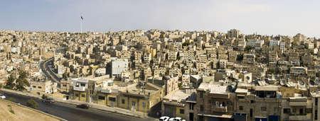 Panorama de Amman, en Jordanie � partir de la citadelle romaine.  Banque d'images