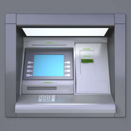 3D illustration of outdoor ATM machine