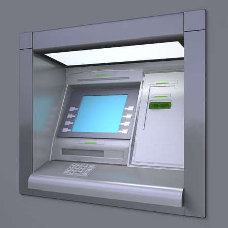 checking accounts: 3D illustration of outdoor ATM machine