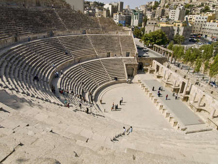 amphitheater: Roman amphitheater in Amman, Al-Qasr site, Jordan Stock Photo