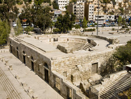 remains: Small Roman amphitheater in Amman, Al-Qasr site, Jordan