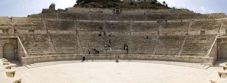 amphitheater: 180 panorama of Roman amphitheater in Amman, Al-Qasr site, Jordan