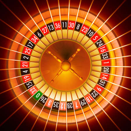 3D illustration of roulette with light rays effect added Stock Photo