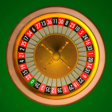 roulette wheel: 3D illustration of roulette with photo realistic rendering without ball.