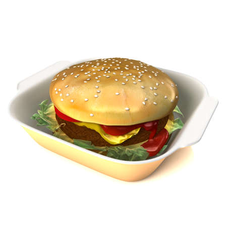 Hamburger 3D illustration on a white background. Depth of field focus with main focus on front of the burger illustration
