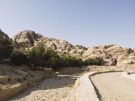 khazneh: Landscape of Petra - Nabataeans capital city (Al Khazneh)  in Jordan.  Roman Empire period. Stock Photo