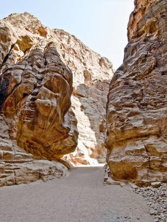 nabatean: Passage walls of Nabatean passage in Petra (Al Khazneh), Jordan.  Siq canyon.