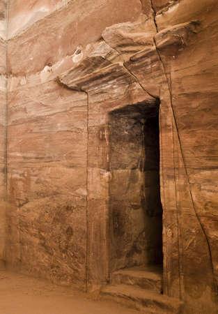 Temple du Tr�sor � l'int�rieur du temple nabat�en ou de la tombe Banque d'images