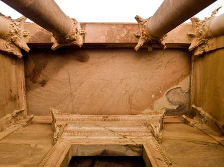 idolatry: Treasury temple entrance facade detail of Nabatean temple or tomb