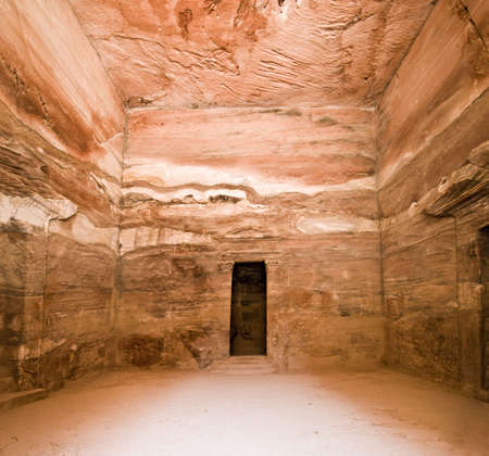 tomb empty: Treasury temple main room of Nabatean temple or tomb  Stock Photo