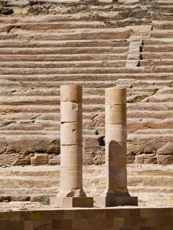 khazneh: Amphitheater ruins - Nabataeans capital city (Al Khazneh) , Jordan. Roman Empire period. Stock Photo