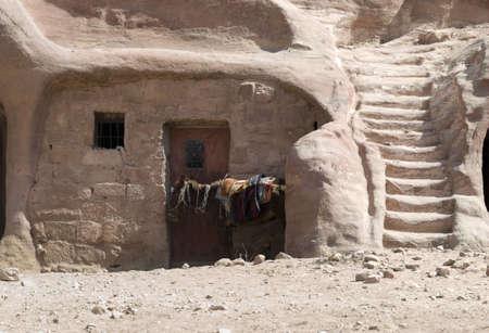 nabataeans: Bedouin home made of Nabatean tomb - Nabataeans capital city (Al Khazneh) , Jordan.