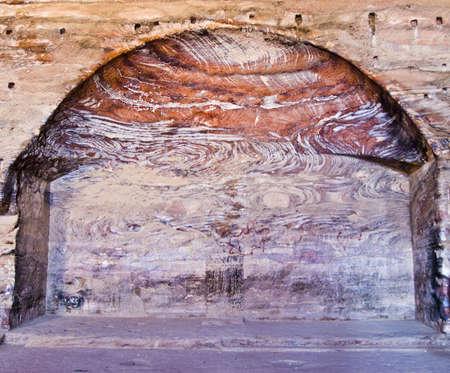khazneh: Urn Tomb main room - Nabataeans capital city (Al Khazneh) , Jordan. Roman Empire period. Stock Photo