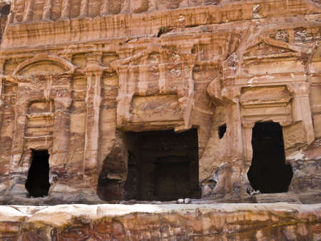 Palace tomb - Nabataeans capital city (Al Khazneh) , Jordan. Made by digging a holes in the rocks. Roman Empire period. Stock Photo - 2576366