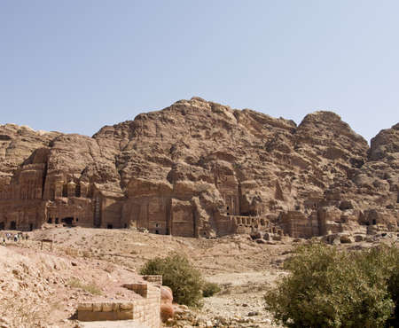 khazneh: Petra panoramic view - Nabataeans capital city (Al Khazneh) , Jordan. Made by digging a holes in the rocks. Roman Empire period. Stock Photo