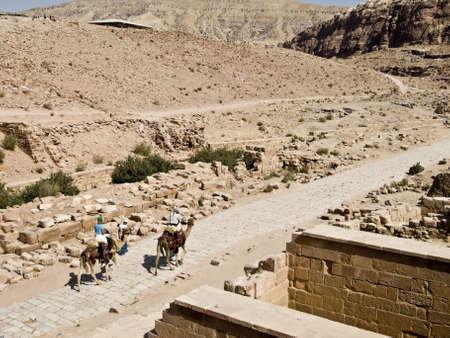 khazneh: Camels - Nabataeans capital city (Al Khazneh) , Jordan. Roman Empire period.