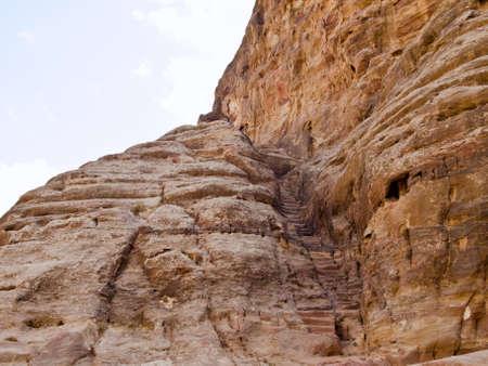 nabataeans: Hidden stairs in landscape - Nabataeans capital city (Al Khazneh) , Jordan.
