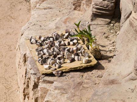 khazneh: Selling a rocks of  Petra - Nabataeans capital city (Al Khazneh) , Jordan. Stock Photo