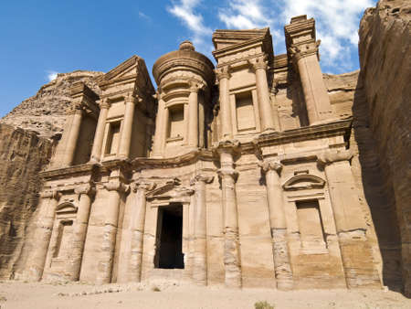 remains: Monastery, the larges monument in Petra - Nabataeans capital city (Al Khazneh) , Jordan. Made by digging a holes in the rocks and cutting the hill. Roman Empire period.