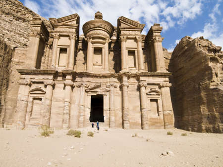 Monastery, the larges monument in Petra - Nabataeans capital city (Al Khazneh) , Jordan. Made by digging a holes in the rocks and cutting the hill. Roman Empire period.